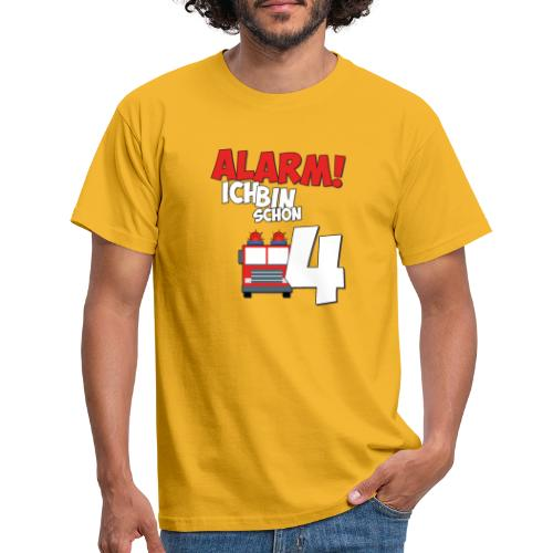 Feuerwehrauto 4. Geburtstag Jungen 4 Jahre - Männer T-Shirt
