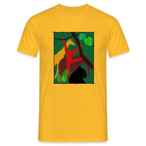 Dschungel - Panther-Affe-Elefant-Giraffe - Männer T-Shirt