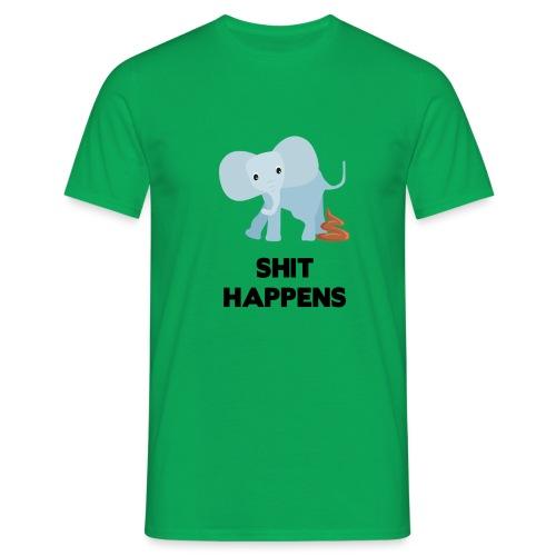 olifant met drol shit happens poep schaamte - Mannen T-shirt