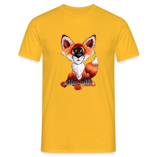 llwynogyn - a little red fox - Miesten t-paita