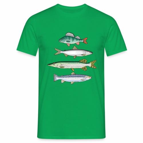 FOUR FISH - Ahven, siika, hauki ja taimen tuotteet - Miesten t-paita