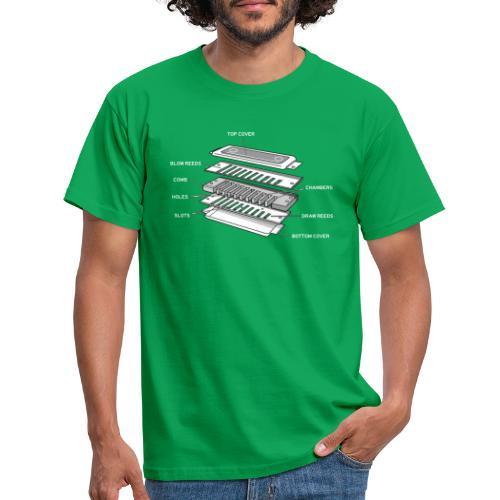 Exploded harmonica - white text - Men's T-Shirt