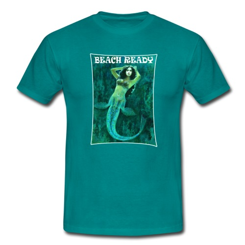 Vintage Pin-up Beach Ready Mermaid - Men's T-Shirt
