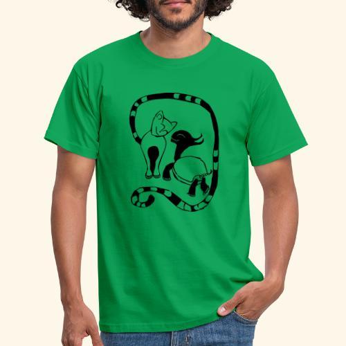 Katze und Schildi - Männer T-Shirt