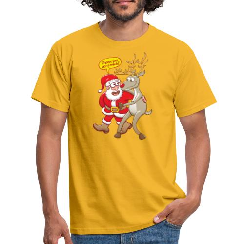 Santa thanks deeply to his red-nosed reindeer - Men's T-Shirt