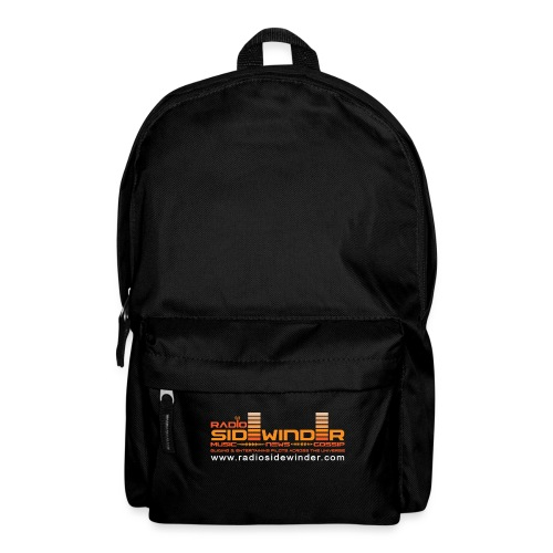 Radio Sidewinder logo and url - Backpack