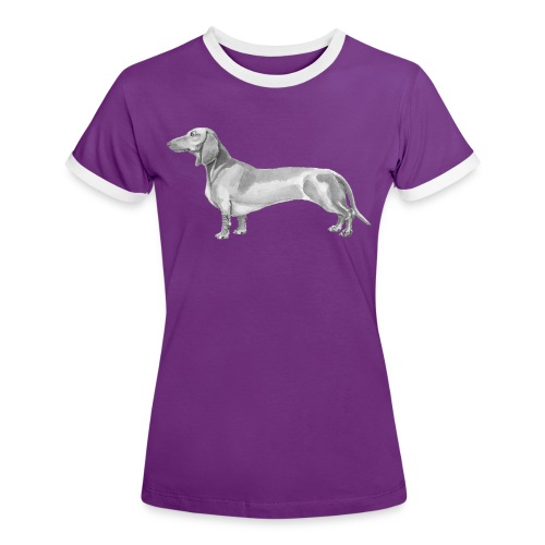 Dachshund smooth haired - Dame kontrast-T-shirt