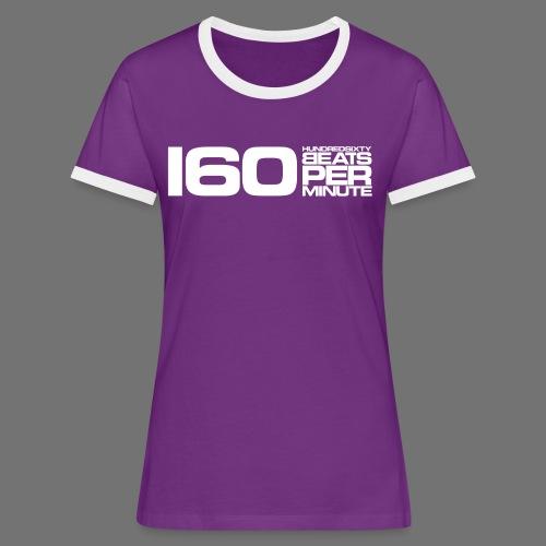 160 BPM (valkoinen pitkä) - Naisten kontrastipaita