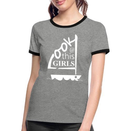 AndriesBik look thisGIRLS shirt witteletters - Vrouwen contrastshirt