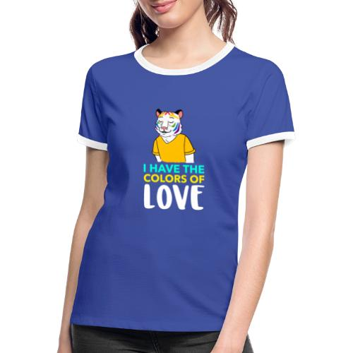 Tigre Arcoíris   Orgullo Pride LGTBI - Camiseta contraste mujer
