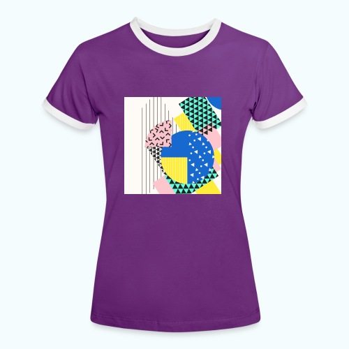 Retro Vintage Shapes Abstract - Women's Ringer T-Shirt
