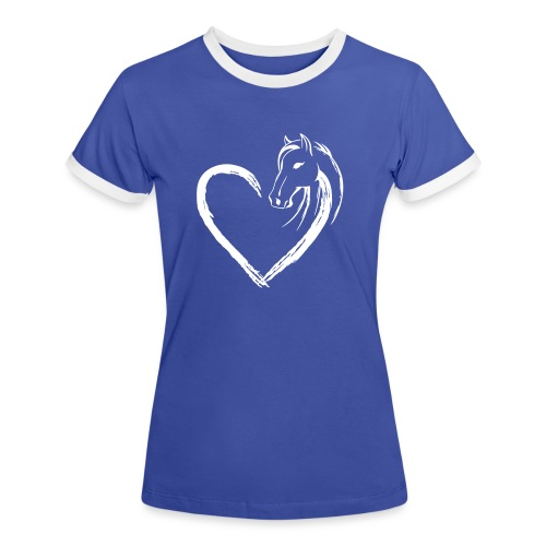 Vorschau: Pferde Herz - Frauen Kontrast-T-Shirt