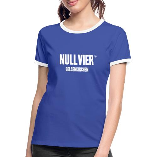 NULLVIER WHITE - Frauen Kontrast-T-Shirt