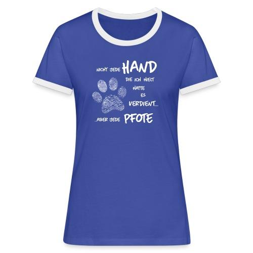 Vorschau: Hand Pfote Hund - Frauen Kontrast-T-Shirt