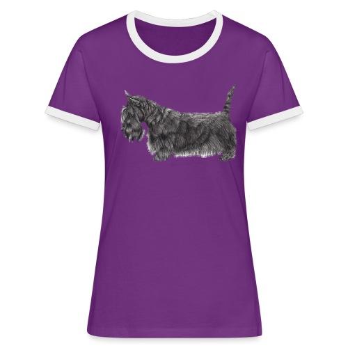 skotsk terrier ub - Dame kontrast-T-shirt