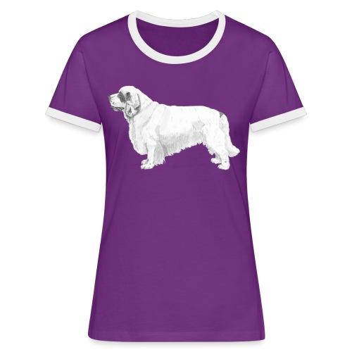 clumber spaniel - Dame kontrast-T-shirt