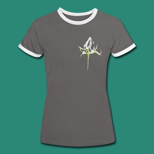 weisse Rosenknospe - Frauen Kontrast-T-Shirt