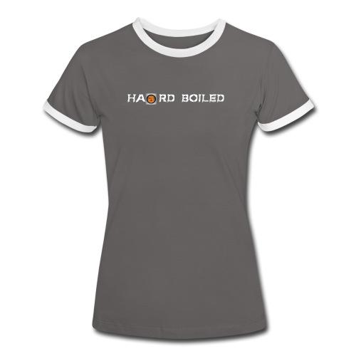 Schriftzug weiß orange - Frauen Kontrast-T-Shirt