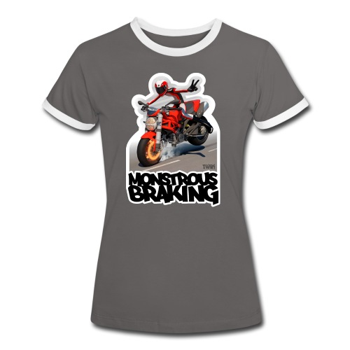 Ducati Monster, a motorcycle stoppie. - Camiseta contraste mujer
