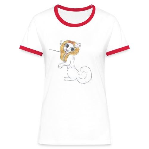 Comic Katze - Frauen Kontrast-T-Shirt