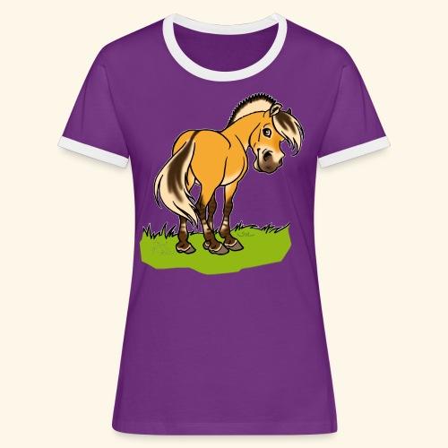 Freundliches Fjordpferd (Ohne Text) Weisse Umrisse - T-shirt contrasté Femme