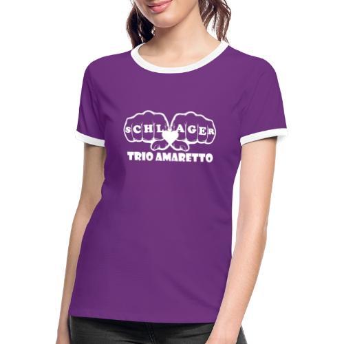 White Print Trio Amaretto - Frauen Kontrast-T-Shirt