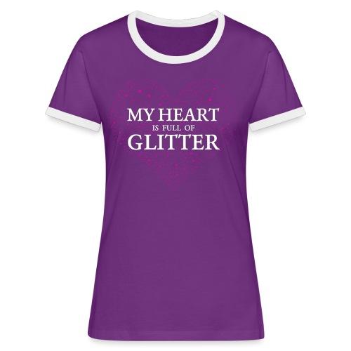 Herz Glitzer - Frauen Kontrast-T-Shirt