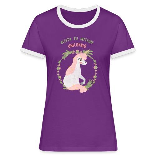 Interior Unicornio   Hippie Unicornias - Camiseta contraste mujer