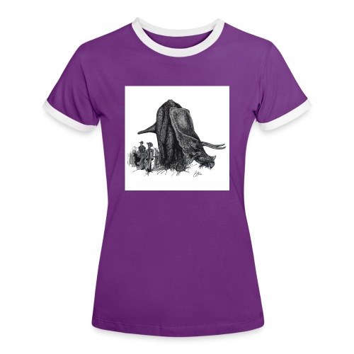 Walking the Triceratops 28 x 28 jpg - Women's Ringer T-Shirt