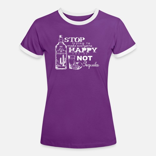 Happy Tequila - Frauen Kontrast-T-Shirt