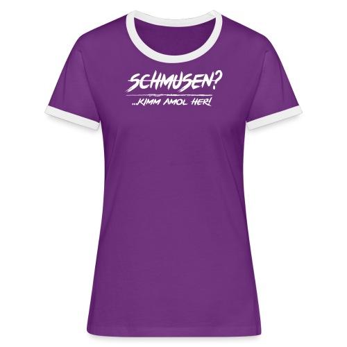 schmusen spotted2 - Frauen Kontrast-T-Shirt