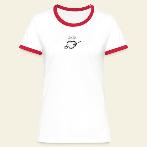 cuore contadina bianco - Maglietta Contrast da donna