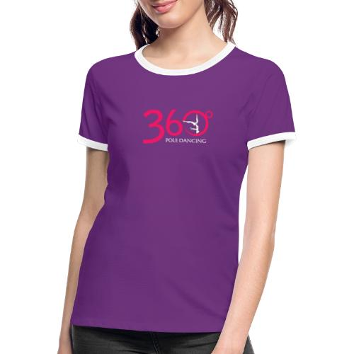 360 Pole Logo w White Writing - Women's Ringer T-Shirt