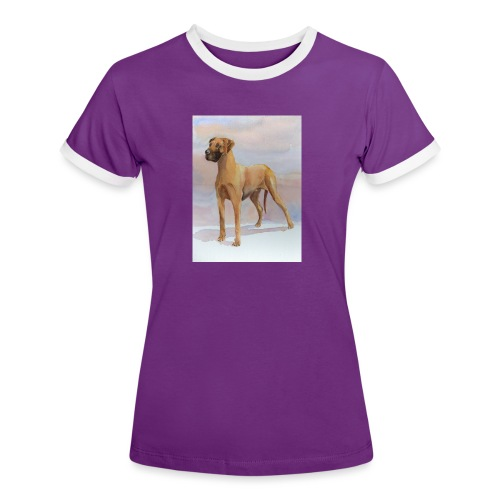 Great Dane Yellow - Dame kontrast-T-shirt