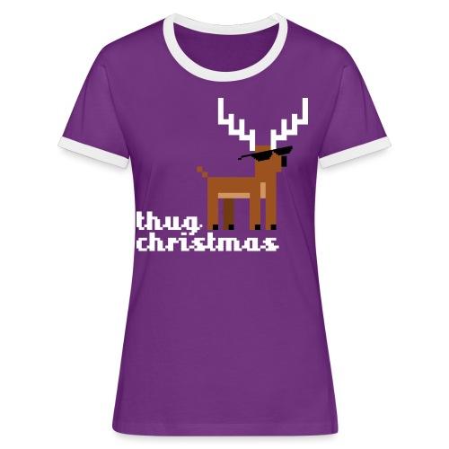 Christmas Xmas Deer Pixel Funny - Women's Ringer T-Shirt