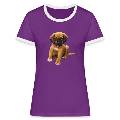 Süsses Haustier Welpe - Frauen Kontrast-T-Shirt