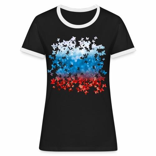 06 Russland Flagge Fahne Russia Schmetterlinge - Frauen Kontrast-T-Shirt