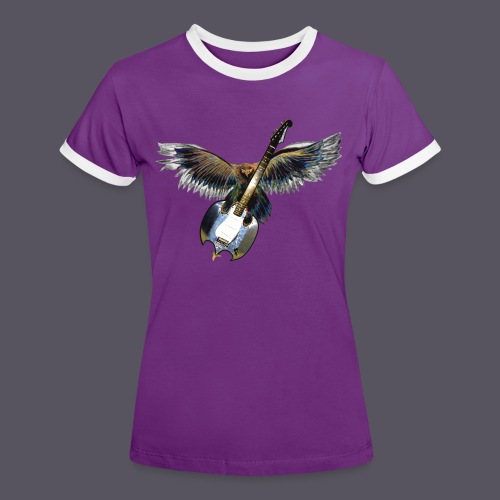 Greifvogel mitGitarrenbeute - Frauen Kontrast-T-Shirt