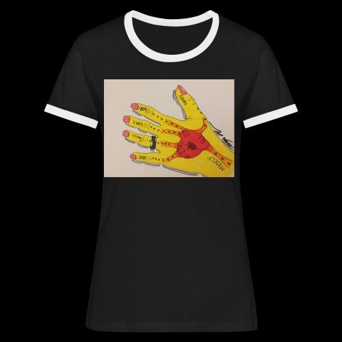 9D8D600F D04D 4BA7 B0EE 60442C72919B - Dame kontrast-T-shirt