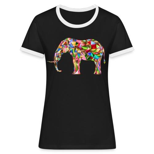 Gestandener Elefant - Frauen Kontrast-T-Shirt