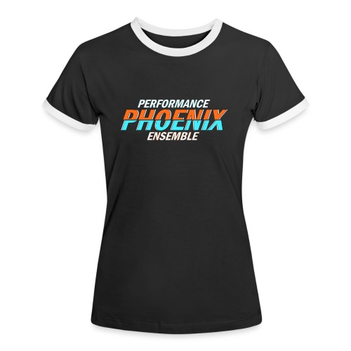 Phoenix Distorted Cyan - Frauen Kontrast-T-Shirt
