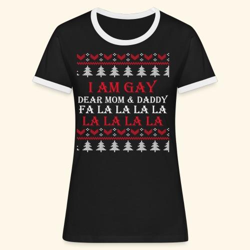 Gay Christmas sweater - Koszulka damska z kontrastowymi wstawkami