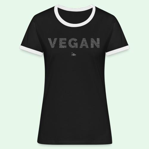 Vegan - White - Kontrast-T-shirt dam