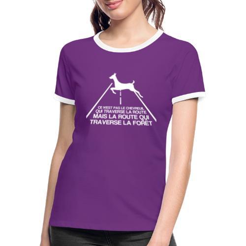 Chevreuil blanc - T-shirt contrasté Femme