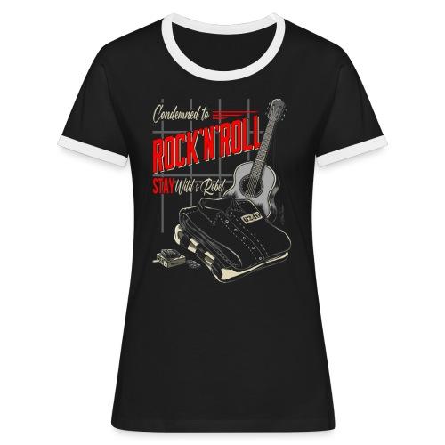 Condenado al Rock and Roll - Camiseta contraste mujer