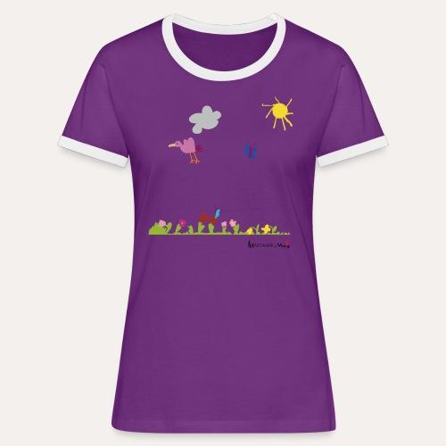 Blumenwiese von Marie - Frauen Kontrast-T-Shirt