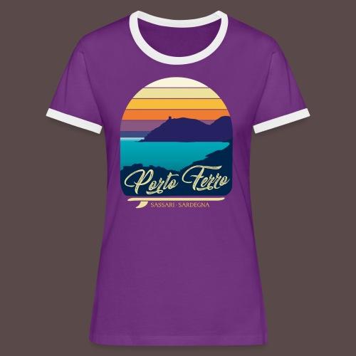 Porto Ferro - Vintage travel sunset - Maglietta Contrast da donna