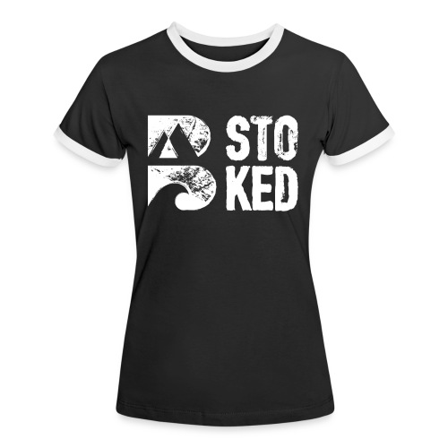bstoked logo white - Women's Ringer T-Shirt