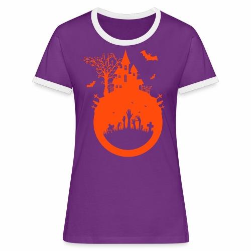 Halloween Design - Das Spukhaus - Frauen Kontrast-T-Shirt