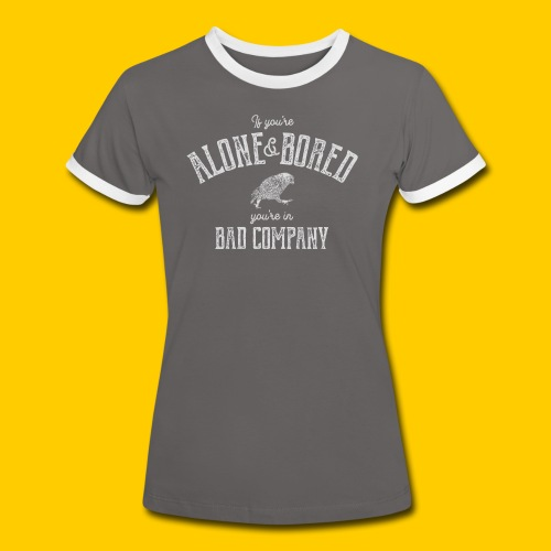 Alone and bored - Kontrast-T-shirt dam